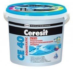 Затирка Ceresit СЕ 40 Aquastatic для швов до 10 мм эластичная водоотталкивающая противогрибковая мята (2кг)