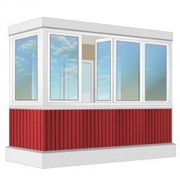 Остекление балкона ПВХ Exprof с отделкой вагонкой без утепления 3.2 м Г-образное