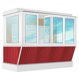Остекление балкона ПВХ Exprof с выносом и отделкой ПВХ-панелями с утеплением 3.2 м П-образное