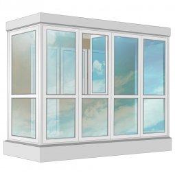 Остекление балкона ПВХ Exprof в пол с отделкой ПВХ-панелями без утепления 3.2 м П-образное
