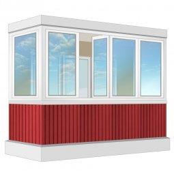 Остекление балкона ПВХ Exprof с отделкой ПВХ-панелями с утеплением 3.2 м П-образное