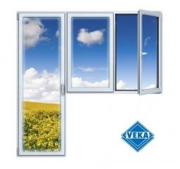 Балконный блок ПВХ Veka 2100х2100 мм 2-ЛГ-ПП 1 стеклопакет