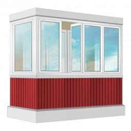 Остекление балкона ПВХ Exprof с отделкой вагонкой с утеплением 2.4 м П-образное