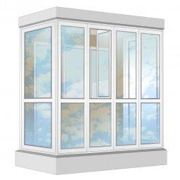 Остекление балкона ПВХ Exprof в пол с отделкой вагонкой с утеплением 2.4 м П-образное