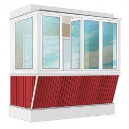 Остекление балкона ПВХ Veka с выносом и отделкой вагонкой с утеплением 2.4 м Г-образное